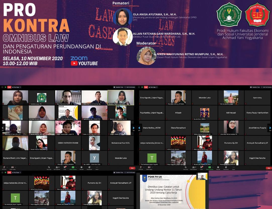 Prodi Hukum FES UNJAYA Selengarakan Webinar Omnibus Law